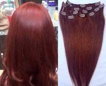 """Hair Faux You 18"""" Clip in Hair Extensions Real Human Hair 80g Clip on for Full Head 7 pieces, 14 clips, Silky Straight Weft Remy Hair Color #33 Dark Auburn"""