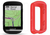 Garmin Edge 530 Cycle GPS with Silicone Case & HD Tempered Glass Screen Protectors (x2) Bundle | Navigation, Bike Mounts, TrainingPeaks, VO2, Incident Detection | Bike Computer (Red Case)