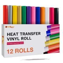 HTVRONT HTV Heat Transfer Vinyl Bundle (12 Pack) - 12 Inch by 5 Feet HTV Vinyl Rolls, Easy to Cut Iron on Vinyl for Cricut & Cameo, Easy to Weed Heat Transfer Vinyl