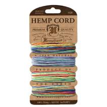 Hemptique Hemp Cord 4 Color Cards - Made with Love - Crafter's No. 1 Choice – Eco Friendly – Plant Hanger - Scrapbooking – Gardening – Macramé – Home Décor (Variegated Pack)