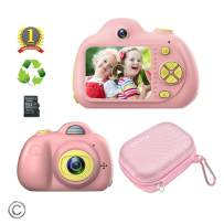 Feeyea Kids Camera with 18 Million Pixels Dual lens,with Carrying Case, Anti-drop Children's real camera with Soft Silicone Shell,Great toy for 4-8 Years Girl,Pink(32GB TFcard included)
