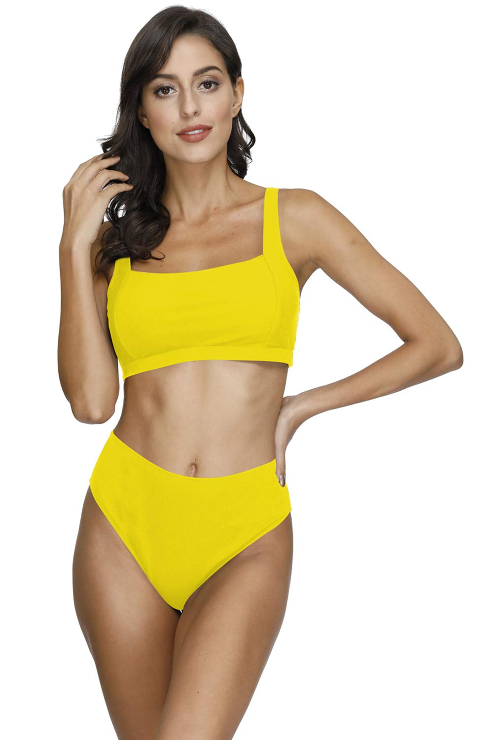 VamJump Women's Square Neck Ribbed Crop Top High Waisted Bikini Set Swimsuit