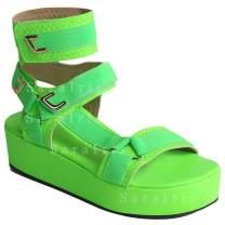 SaraIris Platform Sandals for Women,Open Toe Gladiator Ankel Strap Sexy Snakeskin Platform Sandals Comfortable Velcro Flats