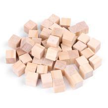 Yosooo Natural Wooden Blocks, DIY Crafts Carving Art Supplies Puzzle Making Blank Wooden Cubes (1#)