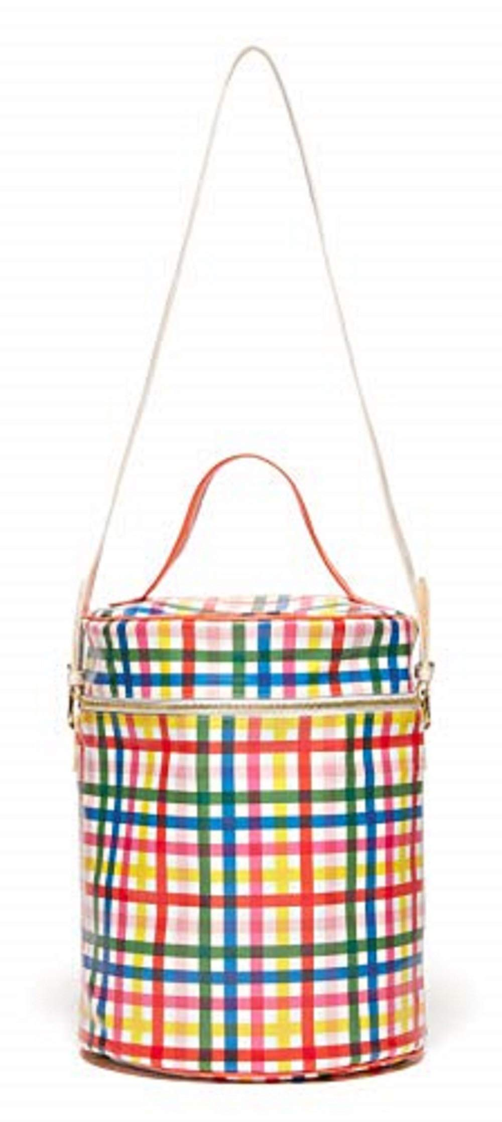 ban.do Super Chill Convertible Rainbow Plaid Cooler Bag with Removable Strap and Water Resistant Leatherette, block party