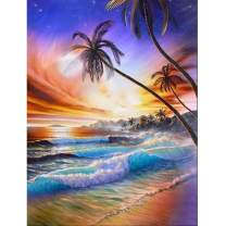 DIY 5D Diamond Painting by Number Kits Round Rhinestone Diamond Embroidery Paintings Pictures Arts Craft for Home Wall Decor Sunset Coconut 12x16inch
