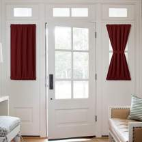NICETOWN Patio Door Blackout Curtain Panels - Privacy Thermal Insulated Blackout Short French Door Curtains, Side Lights Front Door Curtains Blinds - 2 Panels 25W by 40L inches - Burgundy