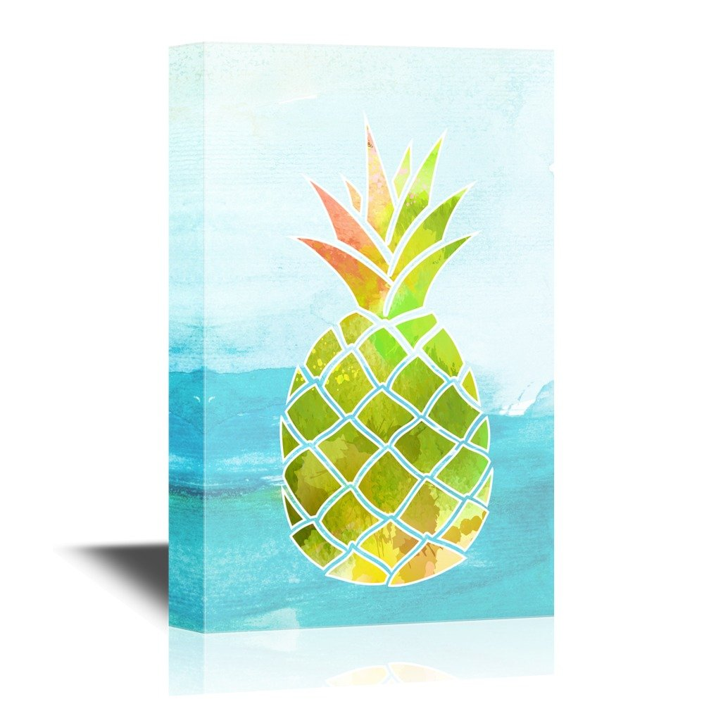 wall26 - Canvas Wall Art - Watercolor Style Pineapple on Abstract Sea Background - Giclee Print Gallery Wrap Modern Home Decor | Ready to Hang - 16x24 inches