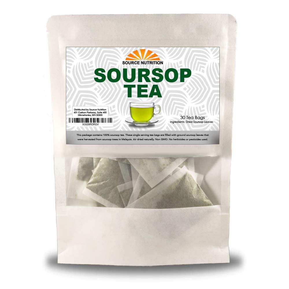 Soursop Tea by Source Nutrition - Pure Graviola Tea, Cut and Sifted Leaves, High in Acetogenins - 30 Tea Bags With Resealable Pouch (Soursop Tea)