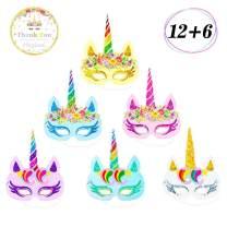 12 Pcs Rainbow Unicorn Masks Kids Birthday Unicorn Party Favors with Unicorn Theme Party Decor 6 pcs Thank You Stickers