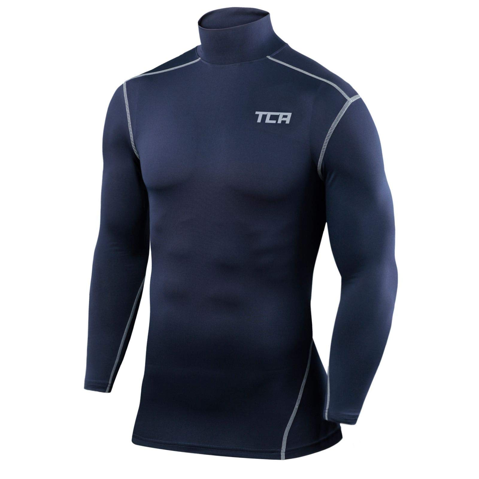 TCA Boys' Youth & Men's Pro Performance Compression Shirt Long Sleeve Base Layer Thermal Top - Crew/Mock Neck