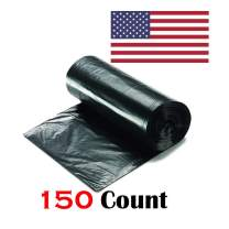 """Ox Plastics 45-50 Gallon Trash Can Liner, High Density 43""""x48"""", 150 Bags/Rolls Per Case, Easy To Use and Store, For Bathroom, Kitchen, or Office Wastebaskets (22 Microns, Black)"""