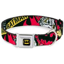 """Buckle-Down Seatbelt Buckle Dog Collar - Batman Caped Crusader - 1.5"""" Wide - Fits 18-32"""" Neck - Large"""