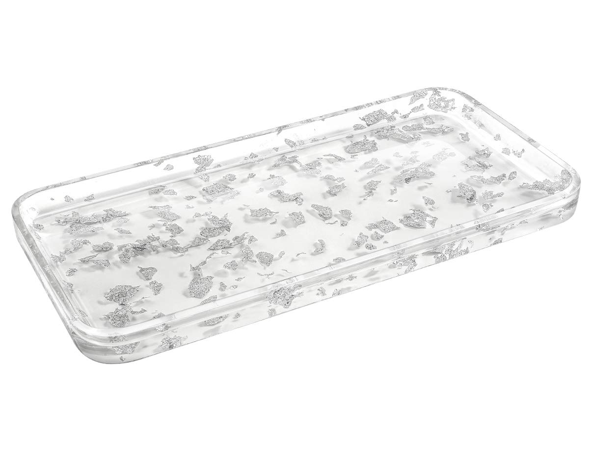 Luxspire Toilet Tank Storage Tray, Countertop, Kitchen, Vanity Serving Tray, Jewelry Organizer Perfume Tray for Dresser, Counter or Desk - Silver White