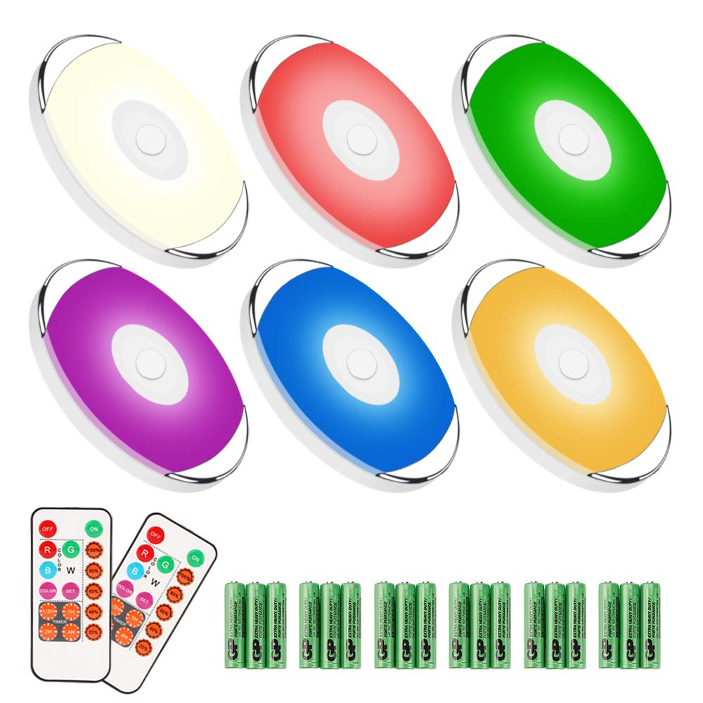 RGB LED Cabinet Puck Lights - Moobibear Battery Operated Under Cabinet Lighting with Remote Control, Wireless Stick on Night Lights for Kitchen, Cabinets Counter, Bookshelf, Timer+ Dimmer, 6 Pack