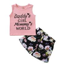 JEELLIGULAR Toddler Baby Girl Clothes Sleeveless Vest Tops Floral Print Shorts Summer Kids Outfits