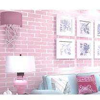Pink Color Brick 3D Self-Adhesive Wallpaper, Peel and Stick Non-Woven Fabric Wallpaper For Home Living Room Bedroom Baby Nursery Wall Decor Art Murals
