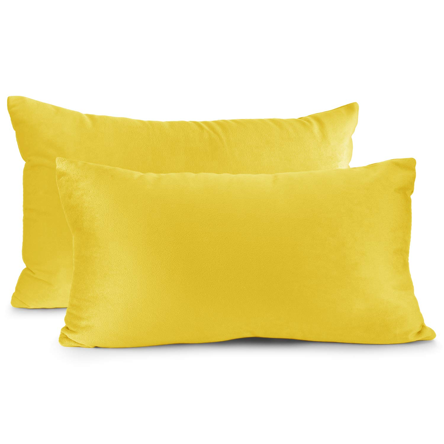 """Nestl Bedding Throw Pillow Cover 12"""" x 20"""" Soft Square Decorative Throw Pillow Covers Cozy Velvet Cushion Case for Sofa Couch Bedroom, Set of 2, Yellow"""