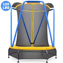 Zupapa 54 inch Indoor Small Trampoline for Kids Children Ultra Quiet Mini Toddler Baby Trampoline with Enclosure Net Bungee Cords Trampoline with Flower Modelling (Blue, 4.5ft)