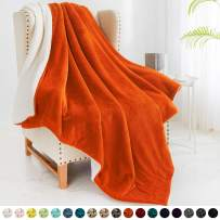 """Walensee Sherpa Fleece Blanket (Throw Size 50""""x60"""" Orange) Plush Throw Fuzzy Super Soft Reversible Microfiber Flannel Blankets for Couch, Bed, Sofa Ultra Luxurious Warm and Cozy for All Seasons"""