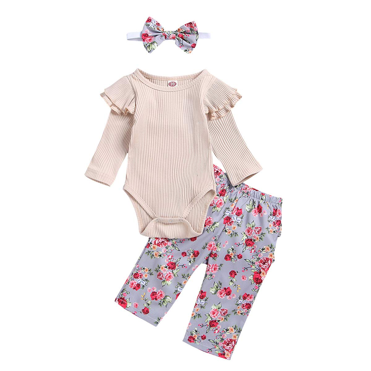 Newborn Infant Toddler Baby Girl Clothes Ruffle Romper Bodysuit Floral Pants Headband Outfits