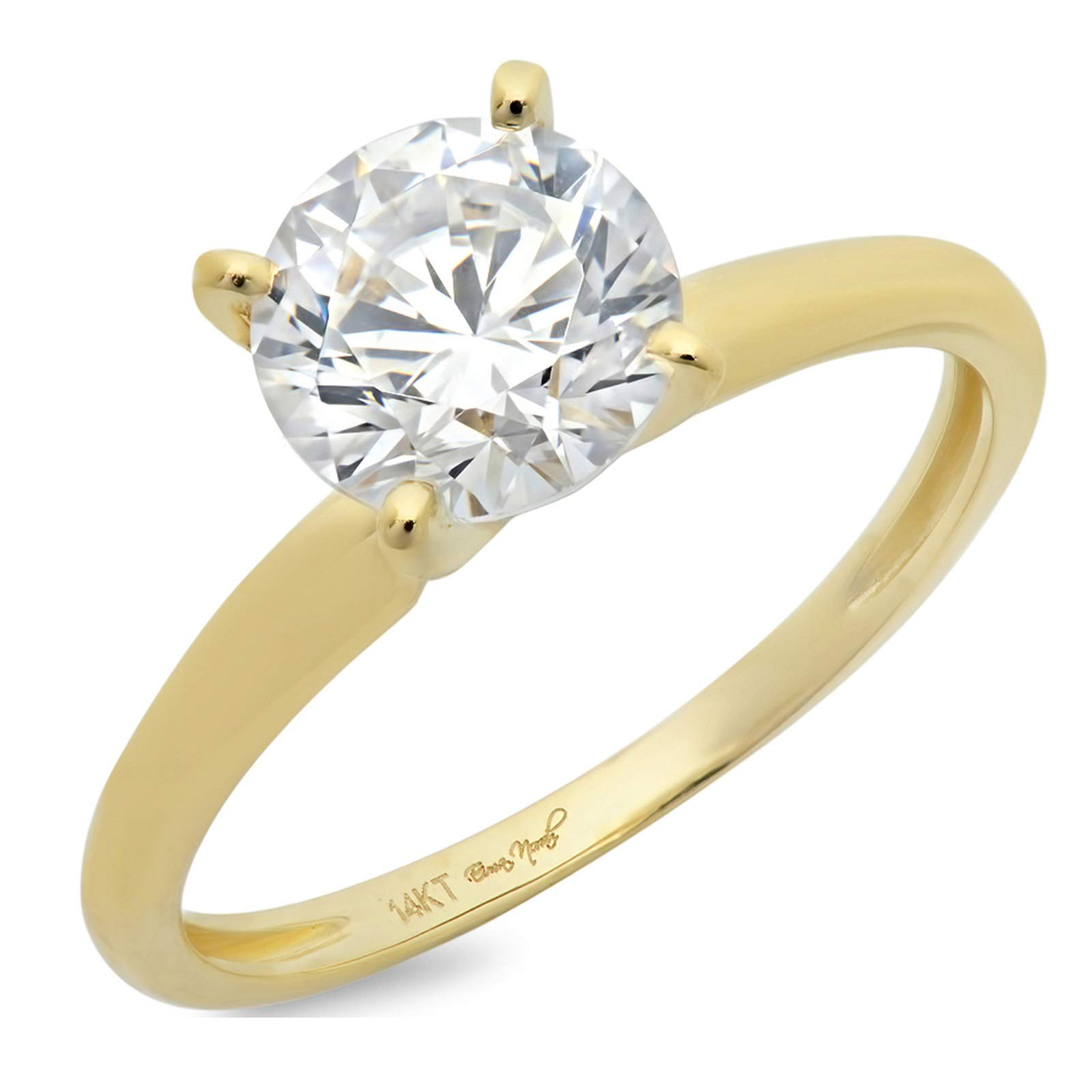 1.50 ct Brilliant Round Cut Solitaire Highest Quality Lab Created White Sapphire Ideal VVS1 D 4-Prong Engagement Wedding Bridal Promise Anniversary Ring in Solid Real 14k Yellow Gold for Women
