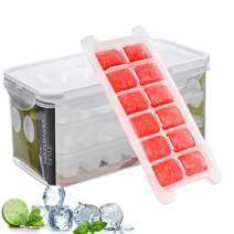 Ice Cube Trays and Ice Cube Storage Container Set With Airtight Locking Lid, 3 Packs / 36 Big Trapezoid Ice Cubes, Stackable Plastic Ice Mold Makers for Cool Drinks, Baby Food and Smoothie