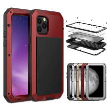 iPhone 11 Pro Max Case, Amever Aluminum Metal Case with Silicone Frame - Water Resistant Shockproof Heavy Duty Tempered Glass Screen Protector Dual Layer Protective Case for iPhone 11 Pro Max - Red