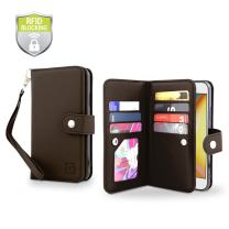 Gear Beast Flip Cover Dual Folio Case fits iPhone 8/7 Wallet Case Slim Protective Top Grain Leather Case 7 Slot Card Holder Including ID Holder 2 Inner Pockets Stand Feature Wristlet RFID