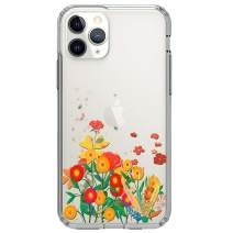 """HUIYCUU Compatible with iPhone 11 Pro Case 5.8"""", Shockproof Anti-Slip Cute Glitter Clear Design Crystal Flower Pattern Slim Fit Soft Bumper Girl Women Cover Case for iPhone 11 Pro, Petals Leaves"""