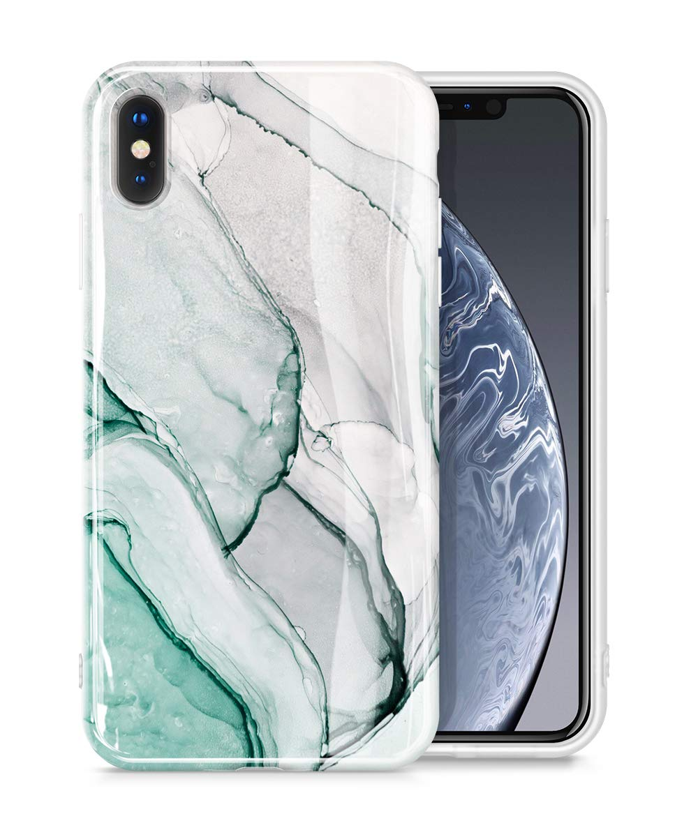"GVIEWIN Marble iPhone Xs Case/iPhone X Case, Ultra Slim Thin Glossy Soft TPU Rubber Gel Silicone Phone Case Cover Compatible iPhone X/iPhone Xs 2018 5.8"" (Agaria/Cyan)"