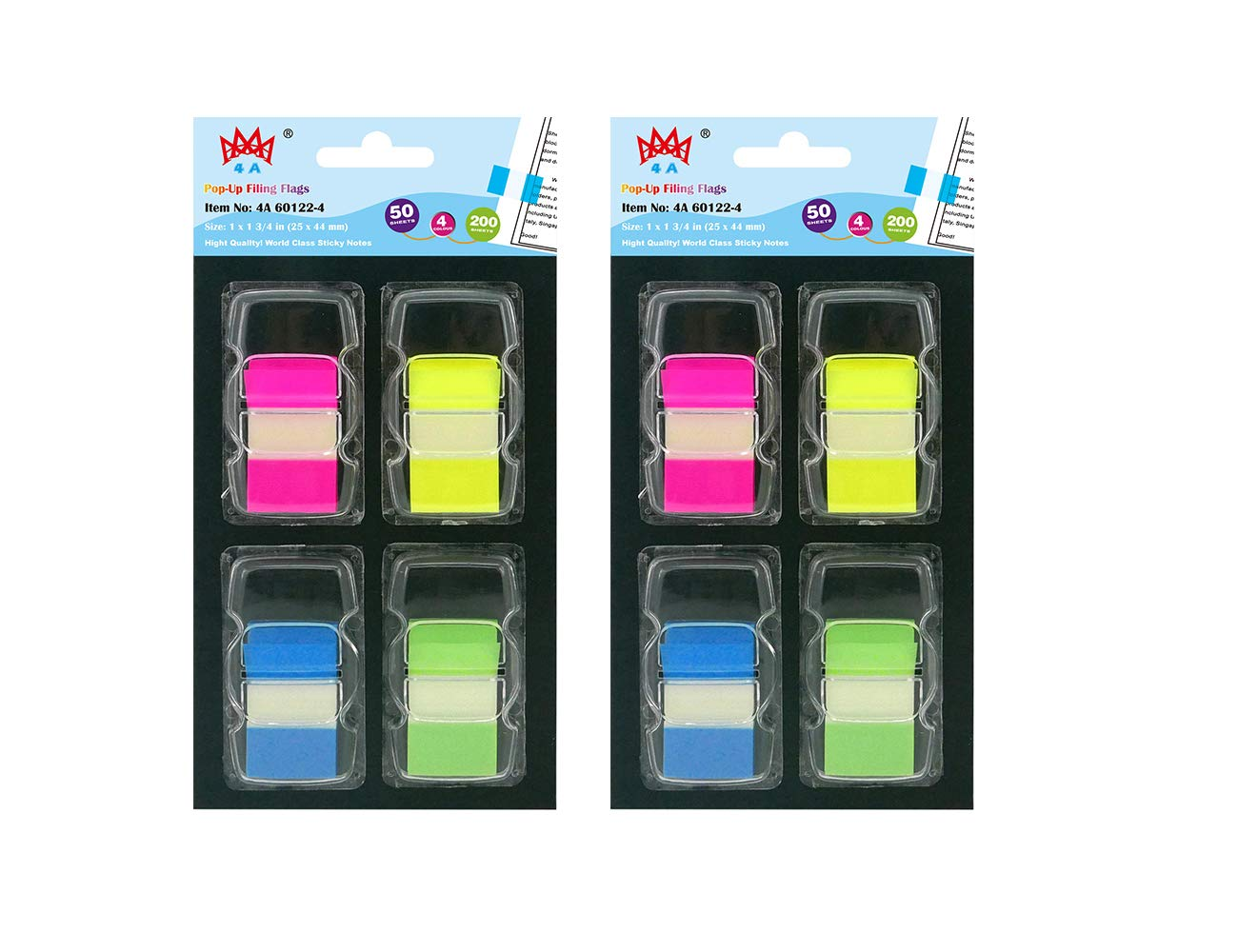 4A Pop-up Flags Set,Page Marker Index Label,Transparent Tabs Flags Stickers,Writable Labels Page Marker Bookmarks, Neon Color,50 Flags/Dispenser,8 Dispensers/Pack,400 Flags Total,4A 60122-8