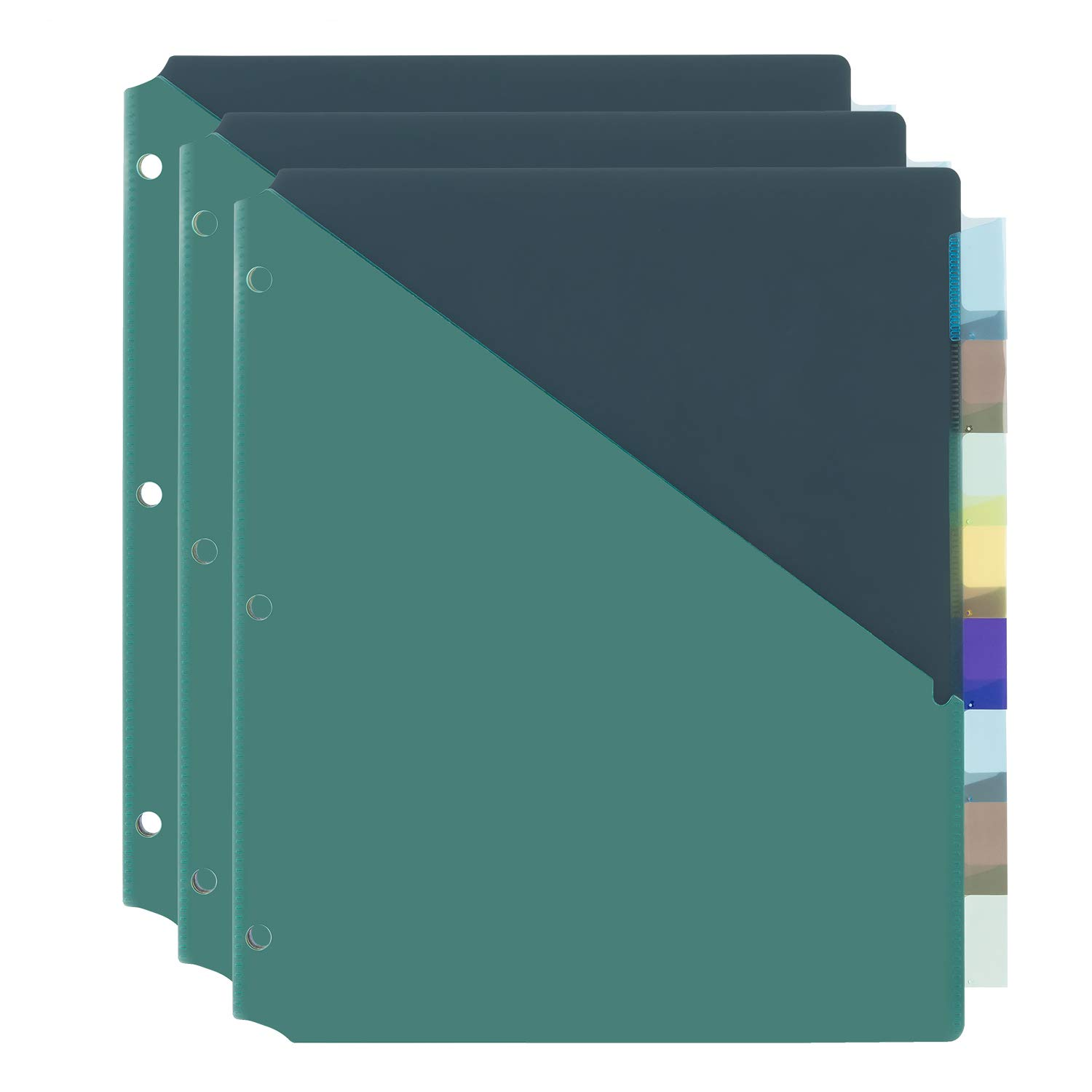 Amazon Basics 8-Tab Plastic Binder Dividers with Pockets, Two Tone, 3 Sets