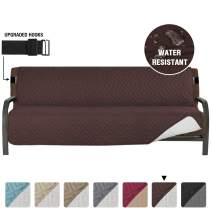 """Armless Futon Cover Futon Slipcover Full Queen Size Futon Couch Cover Futon Sofa Cover Futon Bed Cover Furniture Protector Water Repellent Soft Thick Quilted Reversible, Seat Width: 70"""", Brown/Beige"""