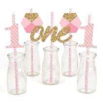 1st Birthday Girl - Fun to be One Paper Straw Decor - First Birthday Party Striped Decorative Straws - Set of 24