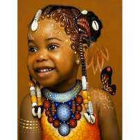 SKRYUIE 5D Full Drill Diamond Painting Smiling Little African Girl by Number Kits, Paint with Diamonds Arts Embroidery DIY Craft Set Arts Decorations (12x16 inch)