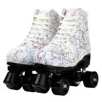 XUDREZ Unisex Roller Skates Double Row Four Wheels High-top Roller Skates Lightning Pattern for Beginners Womens Mens Boys and Girls