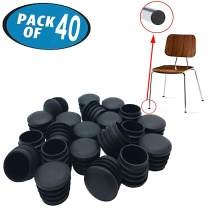 Originalidad 1 Inch Round Plastic Plug & Pipe Tubing End Cap, Great for Fencing Posts, Furniture End Caps, Fitness Equipment End Caps and More (40 Pack)