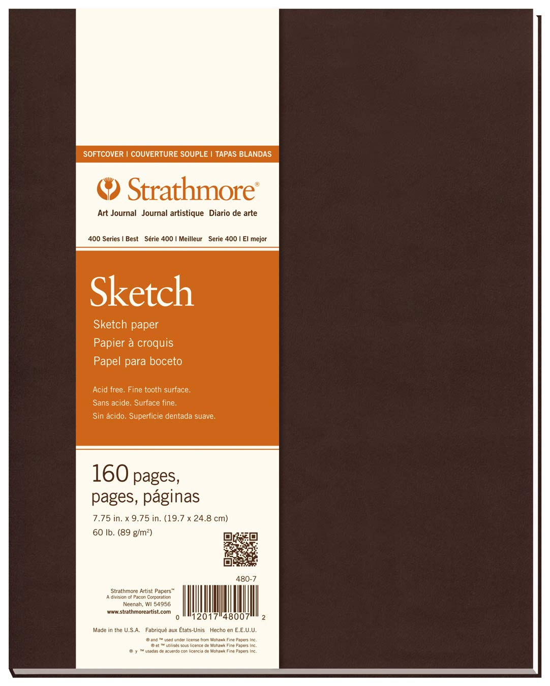 """Strathmore 480-7 Softcover Art Journal, 7.75"""" x 9.75"""", White, 80 Sheets"""