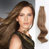 ABH AmazingBeauty Hair Semi-Permanent Pre-taped Remy Tape in Hair Extensions Real Remy Human Hair Skin Weft, Invisible, Seamless and Reusable, 50g 20pcs, Chestnut Brown Color 6, 18 Inch