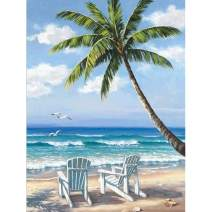 Diamond Painting Kits for Adults Full Round Drill DIY Embroidery Handicrafts for Home Wall Decor - Seaside Chair Landscape (11.8 x 15.7 in)