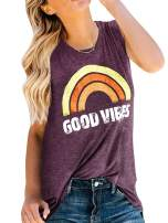 Sherrylily Womens Tank Tops Good Vibes Summer Graphic Crewneck Sleeveless Rainbow Print Tunic Tops T-Shirts