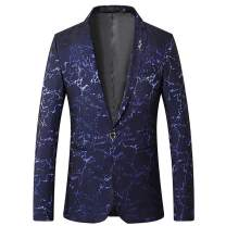 WEEN CHARM Men Slim Fit Suit Jacket Floral One Button Dress Suit Blazer Jacket