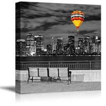 wall26 Black and White Photograph of The City with a Pop of Color on a Hot Air Balloon - Canvas Art Home Decor - 16x16 inches