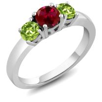Gem Stone King Red Created Ruby and Green Peridot 925 Sterling Silver 3-Stone Women's Ring (1.20 Cttw Round Cut Available 5,6,7,8,9)