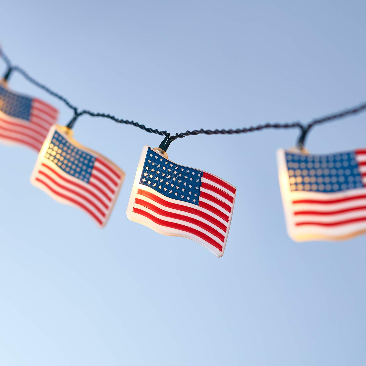 Lights4fun, Inc. 10 American Flag Indoor & Outdoor Battery Operated LED String Lights