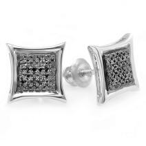 Dazzlingrock Collection 0.15 Carat (ctw) Black Round Diamond Micro Pave Setting Kite Shape Stud Earrings