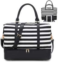 Travel Weekender Bag Canvas Overnight Carry on Shoulder Beach Tote Bag (Black Leather Black stripe with shoes compartment)