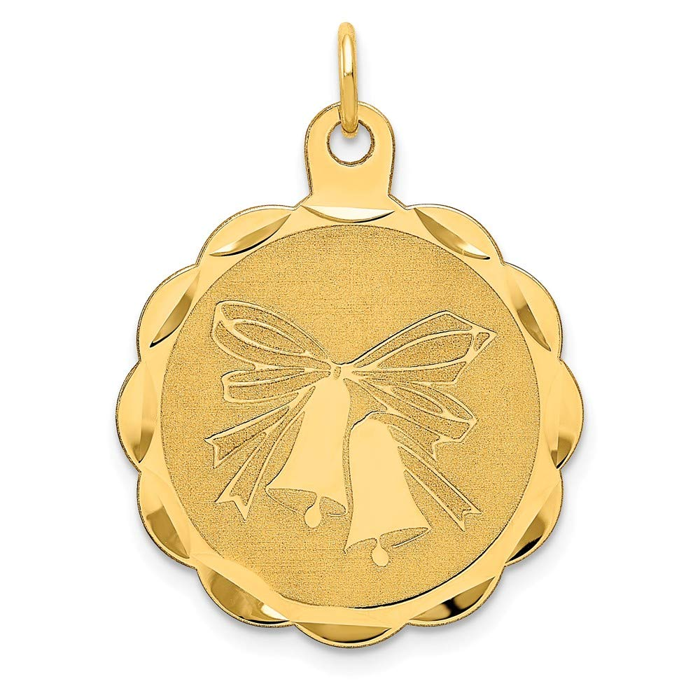 14k Yellow Gold Wedding Bells Engraveable Disc Pendant Charm Necklace Special Day Fine Mothers Day Jewelry For Women Gifts For Her