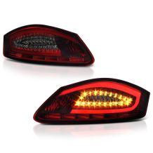 VIPMOTOZ LED Tail Light Lamp Assembly For 2005-2008 Porsche 987-Series Bosxter & Cayman - Smoke Red Lens, Driver and Passenger Side